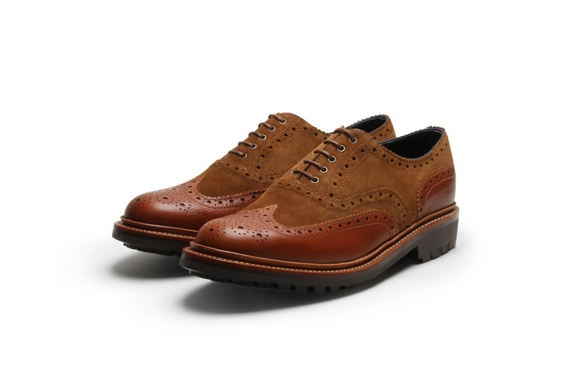 Bumble Bee Brogue in Cognac Grain/Snuff Suede