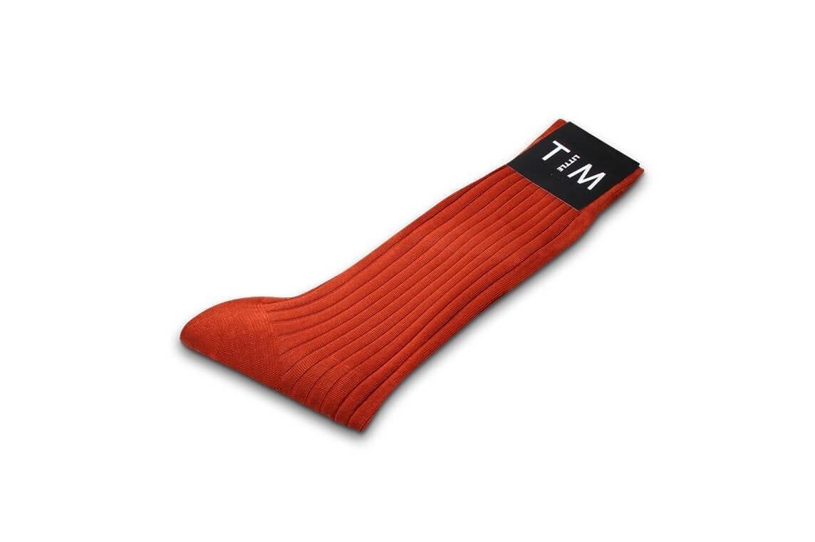 Sock in Ribbed Burnt Orange