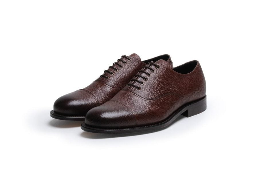Stone Crazy Oxford in Brown Pebble Grain Leather