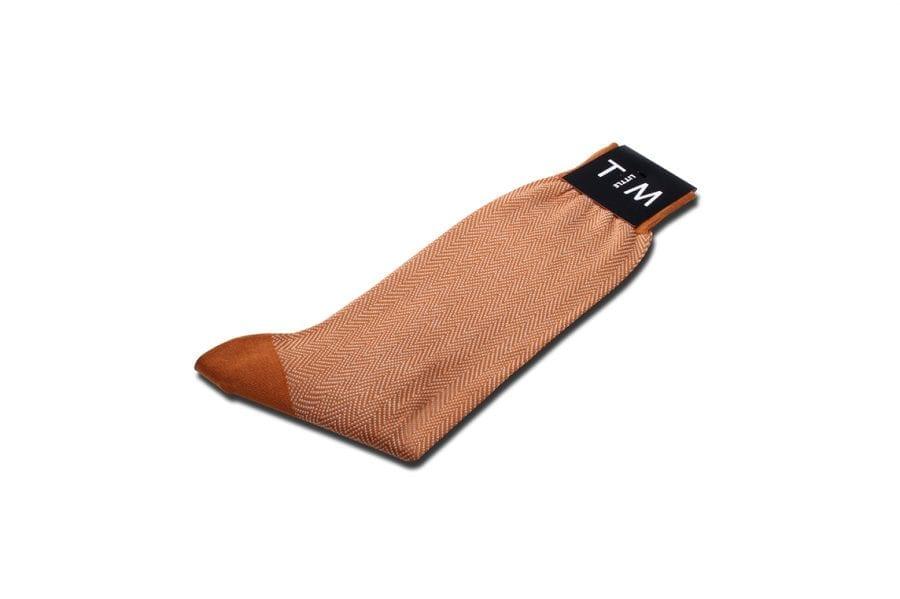 Sock in Arancia Herringbone